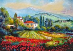 Poppy fields of Italy Painting by Gina Femrite - Poppy fields of Italy Fine Art Prints and Posters for Sale Landscape Art, Landscape Paintings, Fine Art Amerika, Italy Painting, Canvas Art, Canvas Prints, Art Prints, Beautiful Paintings, Poppies