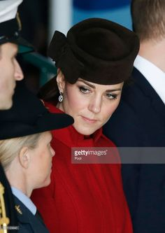 Catherine, Duchess of Cambridge attends a ceremony marking the end of RAF Search and Rescue (SAR) Force operations during a visit to RAF Valley in Anglesey, north Wales on February 18, 2016. The ceremony commemorates the end of 75 years of service by the men and women who over the decades have often put their lives at risk to save others. / AFP / POOL / Peter Byrne (Photo credit should read PETER BYRNE/AFP/Getty Images)
