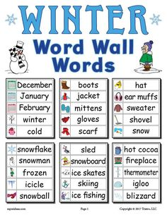 This set of 30 winter word wall words is perfect to use in your literacy center, as a matching game, and so much more! It will work great in the classroom or an at-home study space. Fall Words, Winter Words, Spring Words, Preschool Word Walls, Preschool Lesson Plans, Kindergarten Classroom Decor, Kindergarten Songs, Christmas Words, Winter Activities
