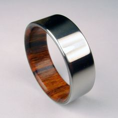 Wood and Titanium ring -- Rosewood interior with polished Titanium exterior Wedding Cake, Wedding Groom, Wedding Men, Wedding Images, Bride Groom, Cool Rings For Men, Wood Wedding Bands, Cool Mens Wedding Bands, Cheap Wedding Rings