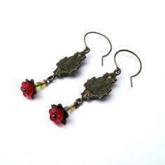 Items similar to Dangle Earrings Embossed Brass Glass Beaded Red Flower on Etsy Bird Jewelry, Jewelry Design, Brown Bird, Little Brown, Red Flowers, Emboss, Dangle Earrings, Glass Beads, Dangles