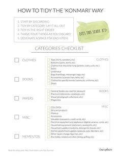 Easy checklist for tidying with the KonMari Method for tidying your life. Pin for ultimate decluttering!   The Life Changing Magic of Tidying Up | Marie Kondo | KonMari Method | Tidying | Organization
