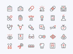 Custom icon set made with the fine folks at for CollectiveHealth& new redesign. Red detailing will appear on hover throughout the website. Icon Design, App Design, Design Layouts, Mobile Design, Flat Design, Pharmacy Design, Medical Design, Medical Icon, Medical Care