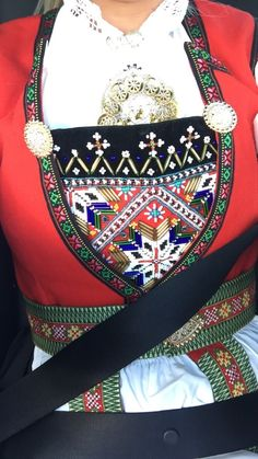 Hardangerbunad, sørfjorden Hardanger Embroidery, Embroidery Stitches, Norwegian Clothing, Beadwork, Beading, European Costumes, Folk Costume, Different Patterns, Traditional Dresses