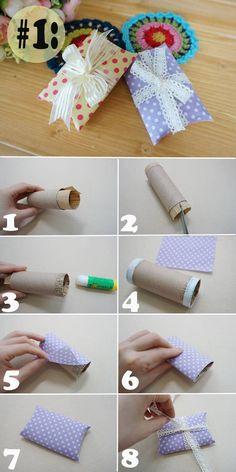 Envoltura de regalos reciclando tubos de cartón de papel higiénico ~ Mimundomanual