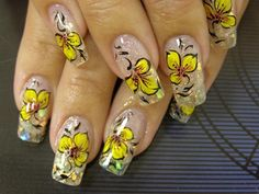 2013 Yellow Flower Summer Nail Designs