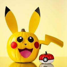 Pikachu and Poke Ball Pumpkin - Project | Plaid Online Halloween Spell Book, Halloween Spells, Halloween Plates, Halloween Crafts For Kids, Halloween Pumpkins, Halloween Fun, Halloween Decorations, Halloween Projects, Holidays Halloween