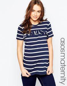 ASOS Maternity Ruffle Front T-Shirt In Stripe