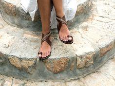 Greek Leather sandals with cross stitched door GreekChicHandmades
