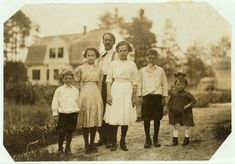 Part of the family of Eva Tanguay, 61 Sylvester St., doffer in spinning room of Ayer mill. A half hour car ride in a crowded, stuffy car to . Black N White, Is 11, Adolescence, First Photo, Siblings, Front Row, Brother, The Past, Sisters