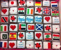 Festive flags for an international wedding.