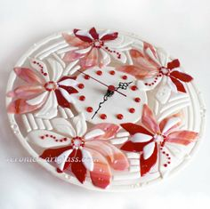 fused glass clocks | Fused Glass Wall Clock RED PEARL FLOWERS fusing | Glass handmade fused ...