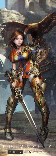 Warrior. Female Character Art. Illustration.