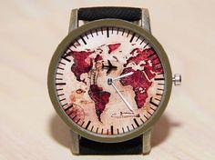 Wristwatch world map denim watch travel clock wrist watch
