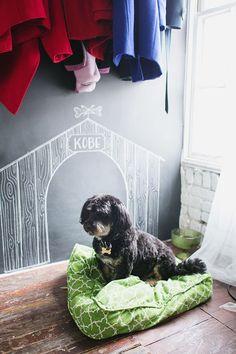 Kobe's chalkboard doggie house