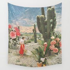 Available for purchase Desert Cactus Plants Landscape Flowers Lady America Painting Art Classic Sky Nature Beautiful Green Pink Red Orange Garden Desert Dream, Photocollage, Alphonse Mucha, Foto Art, Cacti And Succulents, Cactus Plants, Indoor Cactus, Cacti Garden, Succulent Planters