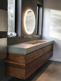 "Concrete Sink - ""Modern Farmhouse Trough"" Made to Order — Opusconcrete - Bathroom Ideas Concrete Sink Bathroom, Modern Bathroom Sink, Modern Sink, Bathroom Layout, Modern Bathroom Design, Bathroom Interior Design, Small Bathroom, Master Bathroom, Trough Sink Bathroom"