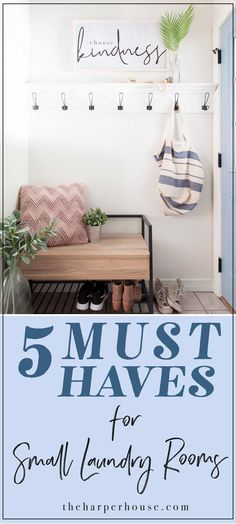 These 5 essentials for small laundry rooms will add style and decrease clutter in your hard working space. laundry room decorating ideas, home decorating, mudroom organization Home Decor Near Me, Home Decor Sale, Home Decor Online, Home Decor Signs, Home Wall Decor, Home Decor Furniture, Home Decor Outlet, Home Decor Items, Americana Home Decor