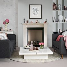 Grey and pink living room | Living room decorating ideas | Ideal Home | Housetohome.co.uk
