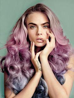 Pink/lavender ombre hair color