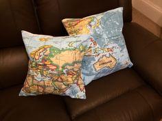 Cushions using map fabric!