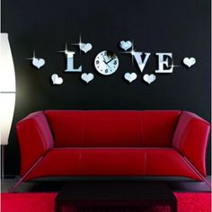 LOVE Decal Acrylic Mirror Effect Wall Sticker Home Decoration Wall Clock with Movement Living Room Decor Tools Silver Wall Stickers Love, Wall Clock Sticker, Wall Stickers Home Decor, Vinyl Wall Art, 3d Wall, Wall Clocks, Mirror Stickers, Sticker Shop, Wall Decals