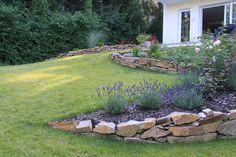 Garden design Peter Reinisch Customer garden on a slope Walled Garden, Terrace Garden, Hillside Garden, Farm Gardens, Outdoor Gardens, Gardens On A Slope, Organic Gardening, Gardening Tips, Courtyard Design