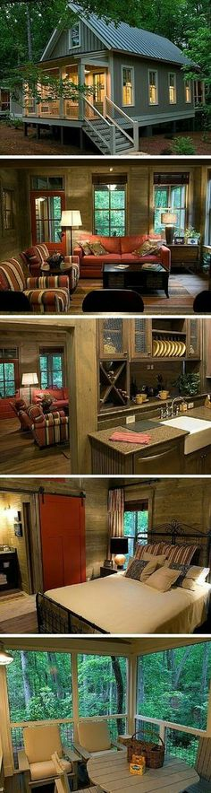 Best Home Architecture Styles Cottages Tiny House 50 Ideas Little Cabin, Little Houses, Cabins And Cottages, Small Cabins, Small Cottages, Tiny Log Cabins, Lake Cabins, Tiny House Living, Small Living