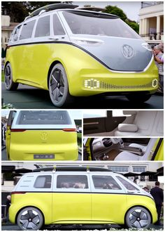 This 2017 VW bus concept is called the Buzz and it hits the streets in 2022 as an all electric vehicle. Hope they keep some of the details of this concept into production! Volkswagon Van, Volkswagen Bus, Volkswagen Beetles, Airstream Campers, Vw Camper, Electric Van, Electric Vehicle, Vw Buzz, My Dream Car