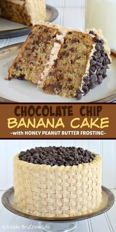 Chocolate Chip Banan Chocolate Chip Banana Cake with Honey Peanut Butter Frosting - chocolate chips and homemade peanut butter frosting make this the best banana cake you will ever have! Make this delicious layer cake for parties and events! Peanut Butter Frosting, Homemade Peanut Butter, Homemade Chocolate, Honey Peanut Butter, Peanut Butter Birthday Cake, Peanut Cake, Homemade Vanilla, Chocolate Chip Cookies, Chocolate Chips