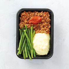 Rinderhackfleisch, Tomaten-Barbecuesauce und Brechbohnen