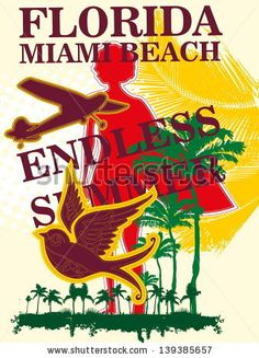 BUY&DOWNLOAD NOW  portfolio (BUY): http://www.shutterstock.com/g/a1vector?rid=962711 contributor(SELL): https://submit.shutterstock.com/?ref=962711#illustration #retro #vector #beach #miami #poster #vintage #design #graphic #style #summer #wave #tropical #stamp #shirt #sun #vacation #surf #ocean #surfing #palm #background #holiday #travel #america #fashion #surfer #tee #sunset #label #print #florida #surfboard #clothing #collection #palms #silhouette #pattern #message #usa #funky
