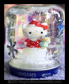 It was very simple to make a snow globe out of an old baby food jar! Super cool kid craft for winter.