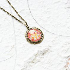 FLORAL MOTIFS Round pendant metal brass with pictures by OhKsushop
