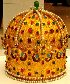 The Crown of István Bocskay,   Persian c. 1600 Gold, rubies, spinels, emeralds, turquoises, pearls, silk H 23.2 cm, Diam. 18.8 cm-22 cm, Imperial Treasury, Vienna