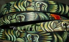 Tattoo Leather dog collar TIKI LARGE extra wide by Anagramfineart