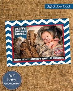 Military Birth Announcement  Baby Boy by madewithlovebyalesha, $20.00