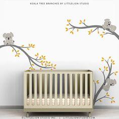 Kids Wall Decals Yellow Gray Wall Sticker Tree Baby Room Decor - Koala Tree Branches by LittleLion Studio