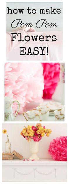 How To Make Tissue Paper Pom Poms - Easy DIY #paper #weddingdecor #valentinesdaydecorating #crafts