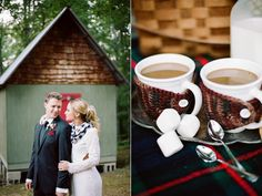 Don't worry about matching! The groom is sporting our vintage pendleton wool pocket square in a red plaid and the bride looks great in our Kit Carson gingham infinity scarf in a black and white check- Campfire Wedding Inspiration