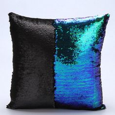 Blue Black Sequin Mermaid Pillow Sequin Pillow Reversible