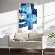 BLUE ABSTRACT THREE Art on Acrylic By Jolina Anthony - 16in x 20in