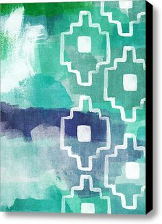 Abstract Aztec- Contemporary Abstract Painting Stretched Canvas Print / Canvas Art By Linda Woods