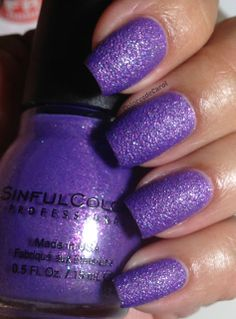 """Sinful Colors texture in """"Purple Gleam"""" I am in love with this! The pink and blue flecks are so pretty in person! I need a regular polish dupe for this!"""