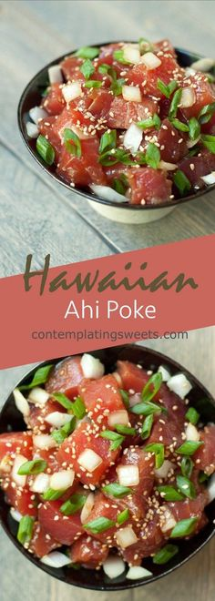 A Hawaiian classic: chunks of Ahi tuna and onions tossed in a sesame soy sauce marinade. #seafoodrecipes