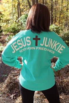 Jesus Junkie Spirit Jersey from Southern Fried Chics. Saved to Comfy Chic. Shop more products from Southern Fried Chics on Wanelo. Country Wear, Country Girls, Casual Outfits, Cute Outfits, The Embrace, Preppy Southern, Vinyl Monogram, Florida Girl, Spirit Jersey