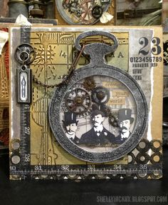 Stamptramp: Create Your World uses new Pocket watch and circle dies and Blueprints and Gears texture fades.