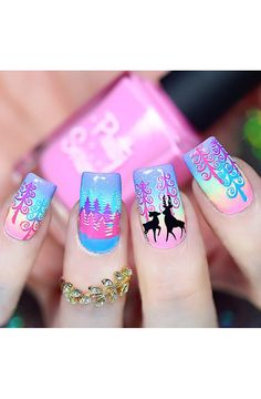 Woodland Chic - UberChic Nail Stamping Plate House Beautiful beautiful house plants for sale Chic Nail Designs, Winter Nail Designs, Christmas Nail Designs, Cute Christmas Nails, Holiday Nails, Simple Christmas, Nagel Stamping, Gel Nails, Nail Polish