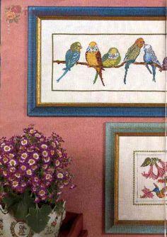 Borduurpatroon Kruissteek Papegaai - Parkiet *Embroidery Cross Stitch Pattern Parrot ~Parkieten op tak 1/8~