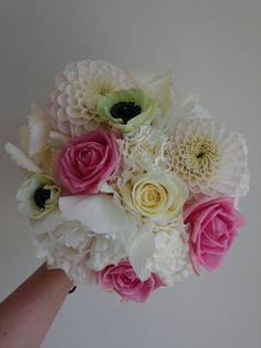 Bridesmaids bouquet of roses hydrangea dahlias anemones peonies and carnations. The Garden studio www.gardenstudioevents.co.uk